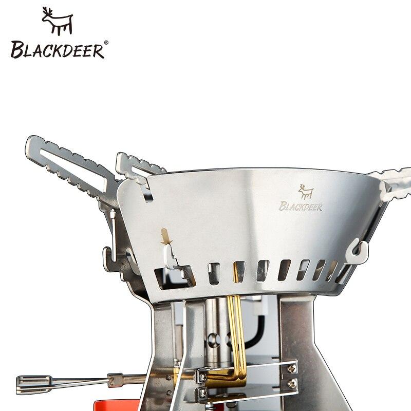 BLACKDEER Ультралегкая титановая газовая плита для кемпинга, пикника, ветрозащитная портативная газовая Складная плита, конфорки, стабильная с лобовым стеклом, на открытом воздухе - 4