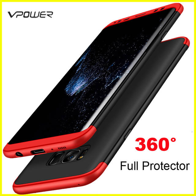 cheap for discount 98397 ff943 for Samsung Galaxy S8 Plus S9 Plus Case Samsung S8 S9 Cover Vpower  Three-In-One 360 Full Protector Case Without Tempered Glass