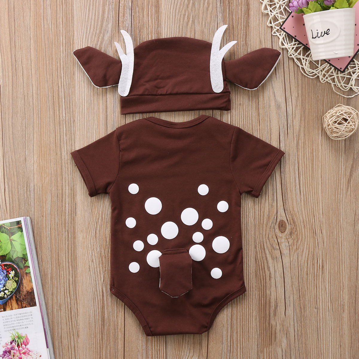 2pcs Newborn Baby Boys Girls Deer Romper Jumpsuit Bodysuit Hat Clothes Outfits