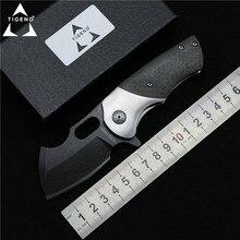 TIGEND tank Flipper folding font b knife b font DC53 blade CF wood steel handle camp