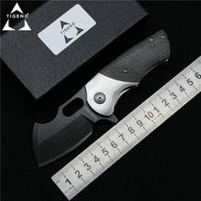 TIGEND tank Flipper folding knife DC53 blade CF wood steel handle camp hunting outdoor survival pocket