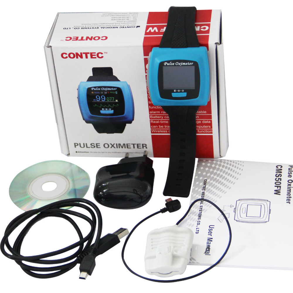 Hot!! Contec Wrist pulse oximeter Fingertip OLED Display SpO2 Probe+ Bluetooth+ Software,CMS50F Blood Pressure Monitor Oximeters