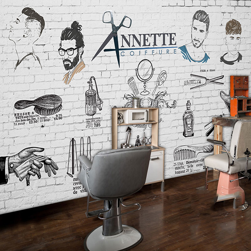 Custom 3d mural 3d retro fashion salon barber salon for Salon wallpaper