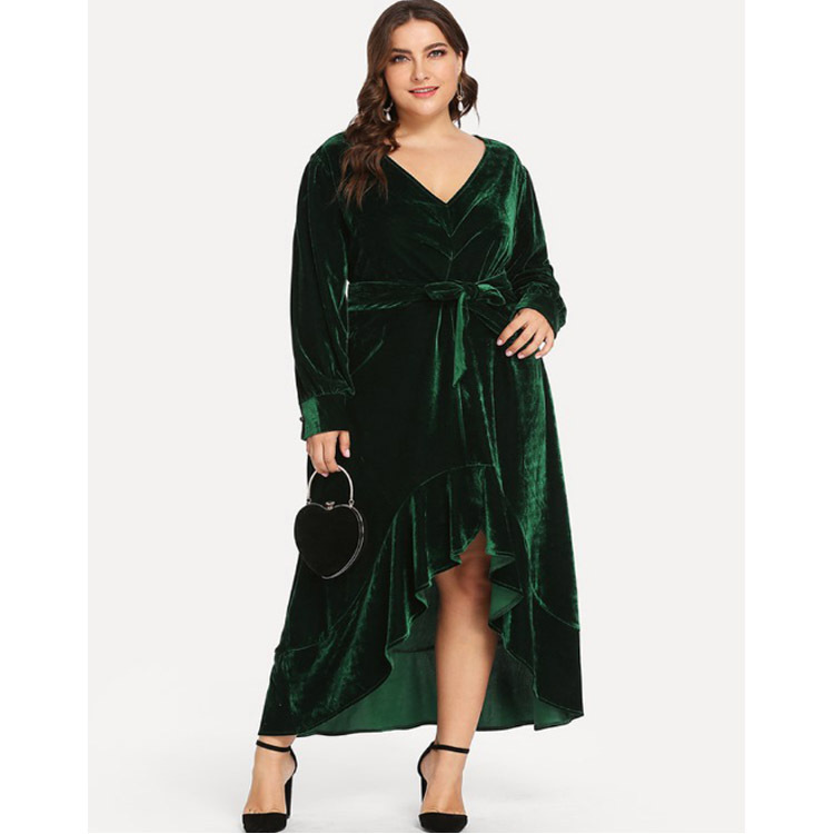 Robe en velours à col en v grande taille 3xl 4xl soirée sexy robe à volants grande taille femmes robe à manches longues robes d'hiver 2019