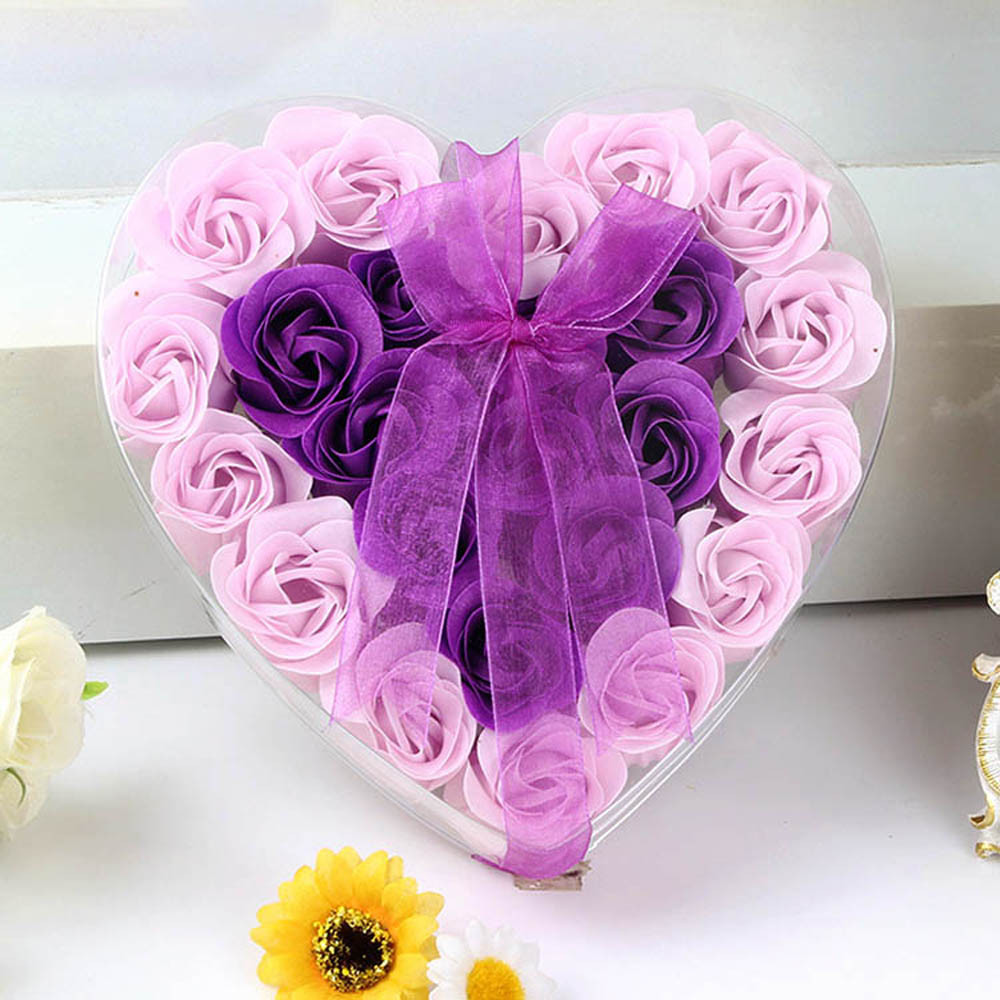 24Pcs Rose Flower Soap Petal Bath Body Heart Scented Christmas Gift Wedding Festival Decoration Gift Candy Box Air Freshener