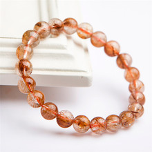 Brazil Natural Copper Hair Rutilated Quartz Gemstone Crystal Round Bead Stretch Bracelets 8mm