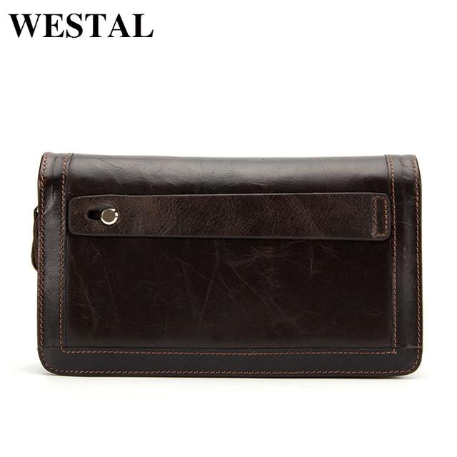 WESTAL вместительный клатч сумка мужской кошелек мужской натуральная кожа телефон бумажник кошелек мужской длинный подарок мужчине друге папы семье новогодние подарки 9013
