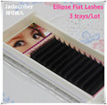 New 3 trays/lot high quality soft natural long Ellipse Flat Lashes J B C D curl new type thin tip flat roots flat lashes
