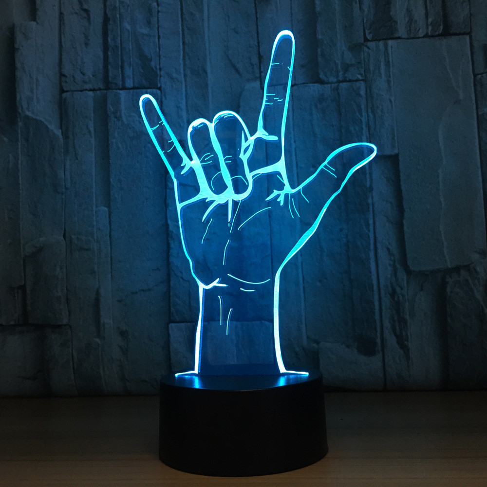 3D LED I Love You Sign Language Night Light USB Novelty 7 Colors Mood Gesture Table Lamp Kids Bedside Decor Sleep Lighting Gifts i found you