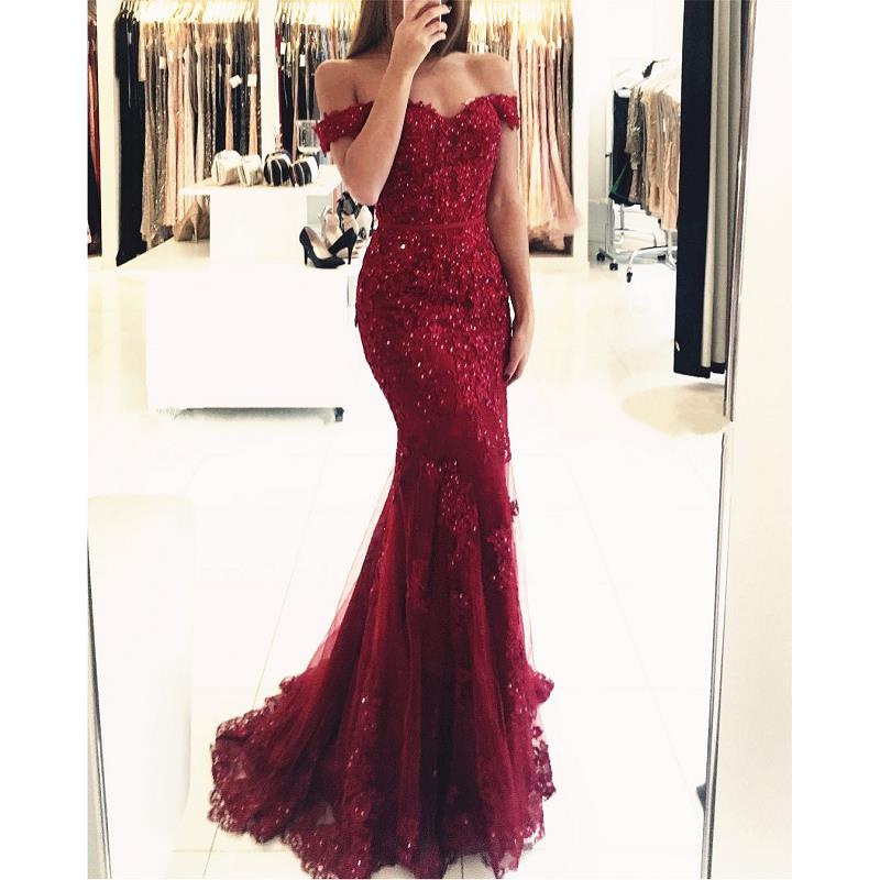Burgundy Off The Shoulder   Prom     Dresses   Mermaid 2019 vestidos de fiesta de noche Lace Tulle Imported Party   Dress   Formal Gowns