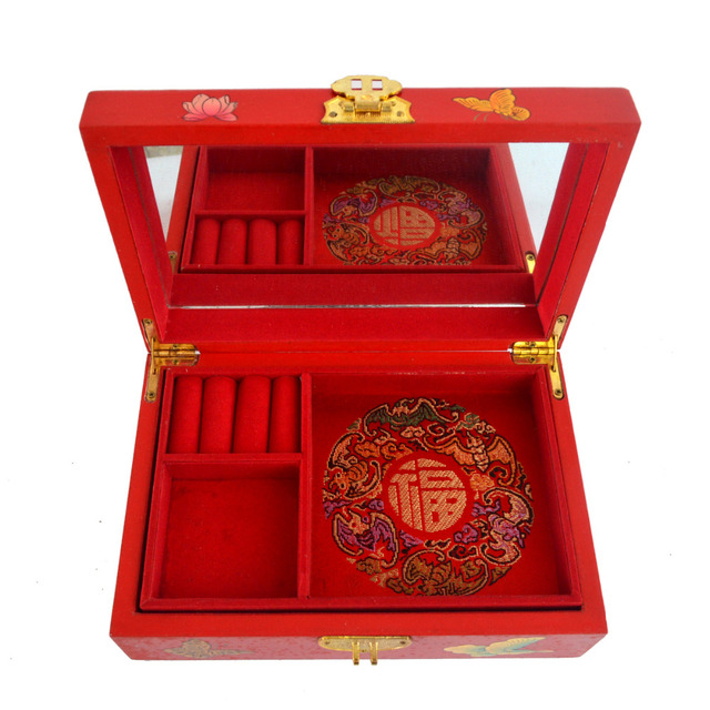 Feng shui Chinese vintage wooden red jewelry Box W butterfly pattern