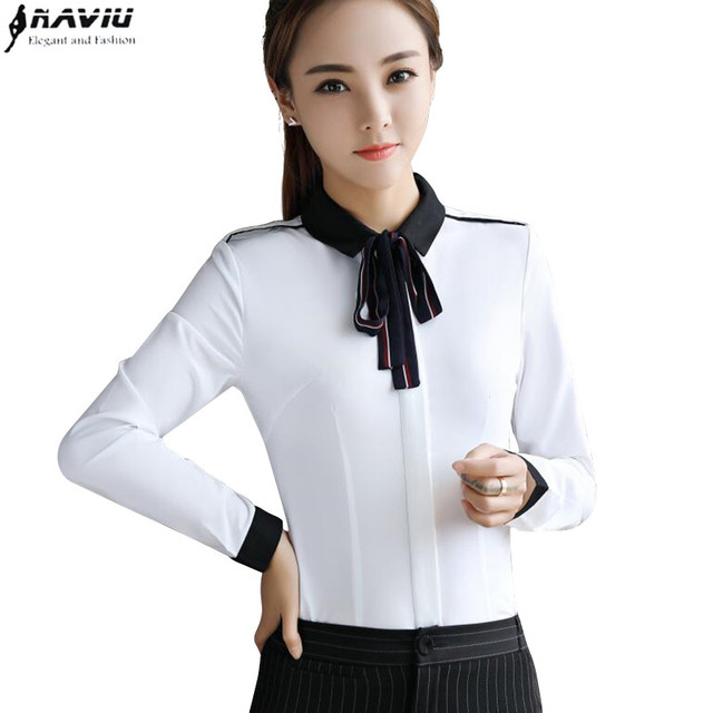 cb230c1f9350b Elegant women bow shirt fashion Business formal patchwork clothes slim long  sleeve chiffon blouses office ladies plus size tops