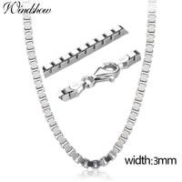 20 24 Bold Real 925 Sterling Silver Box Chain Long Necklace Women Men Jewelry 50cm/55cm/60cm W 3mm Wholesale kolye collares