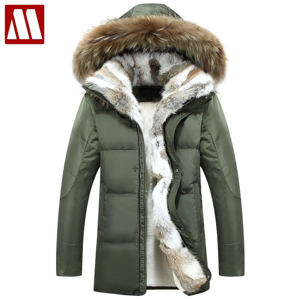 MYDBSH Thick Warm Winter Jacket Parkas Men Casual Fur Collar Hood Military Overcoat Windproof White Duck