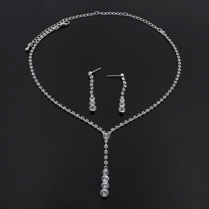Schmuck & Zubehör Blijery Silber Farbe Einfache Kristall Brautschmuck Sets Lange Tropfen Halskette Ohrringe Armband Set Für Frauen Hochzeit Schmuck-set