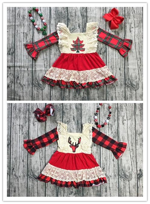 Bebé boutique niñas Reno de la Navidad vestido de las niñas árbol de Navidad vestido plaid vestido Vestido de manga larga vestido de encaje con accesorios