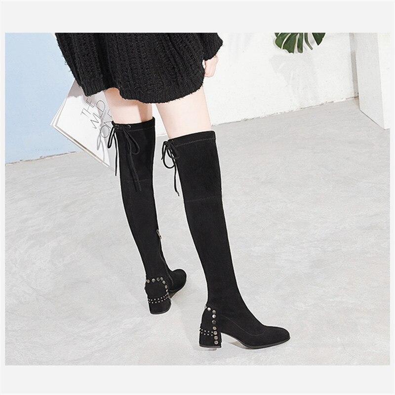 Großhandel Mabaiwan Mode Dicke High Heels Winter Frauen Overknee Stiefel Schwarze Flock Socken Stretch Stoff Schuhe Frauen Runde Kappe Pumps Von