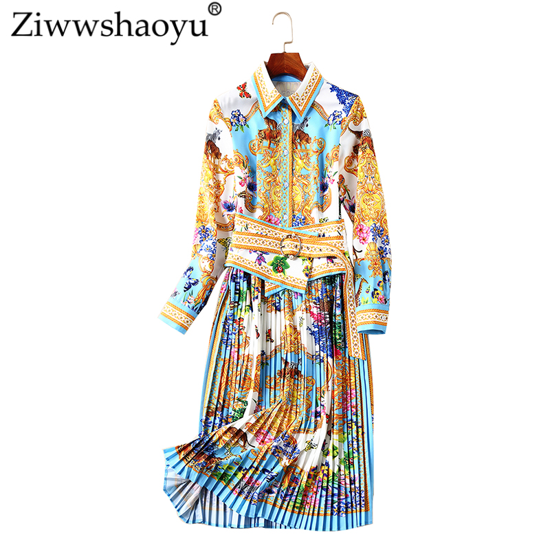 Ziwwshaoyu Vintage Draped dress Turn-down Collar Sashes A-Line Print dress 2018 Autumn New Women