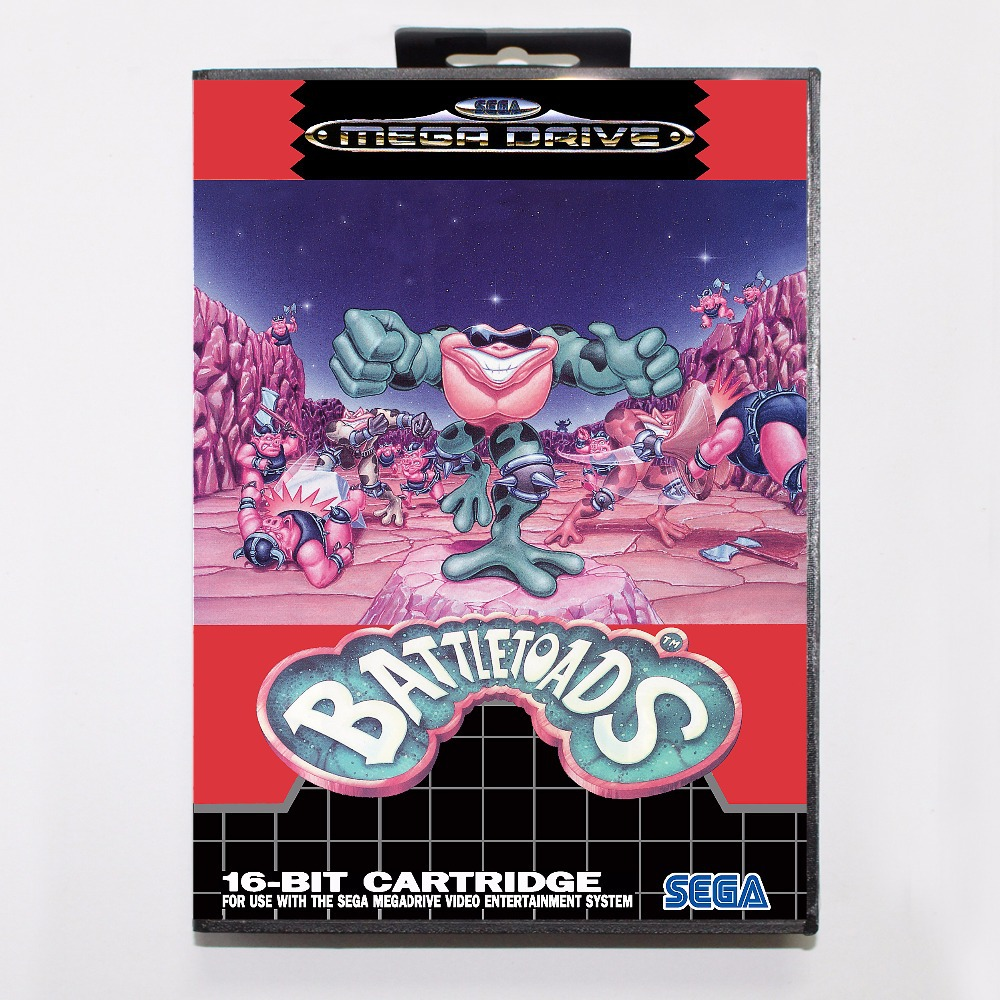 Battletoads Game Cartridge 16 bit MD Game Card With Retail Box For Sega Mega Drive For Genesis