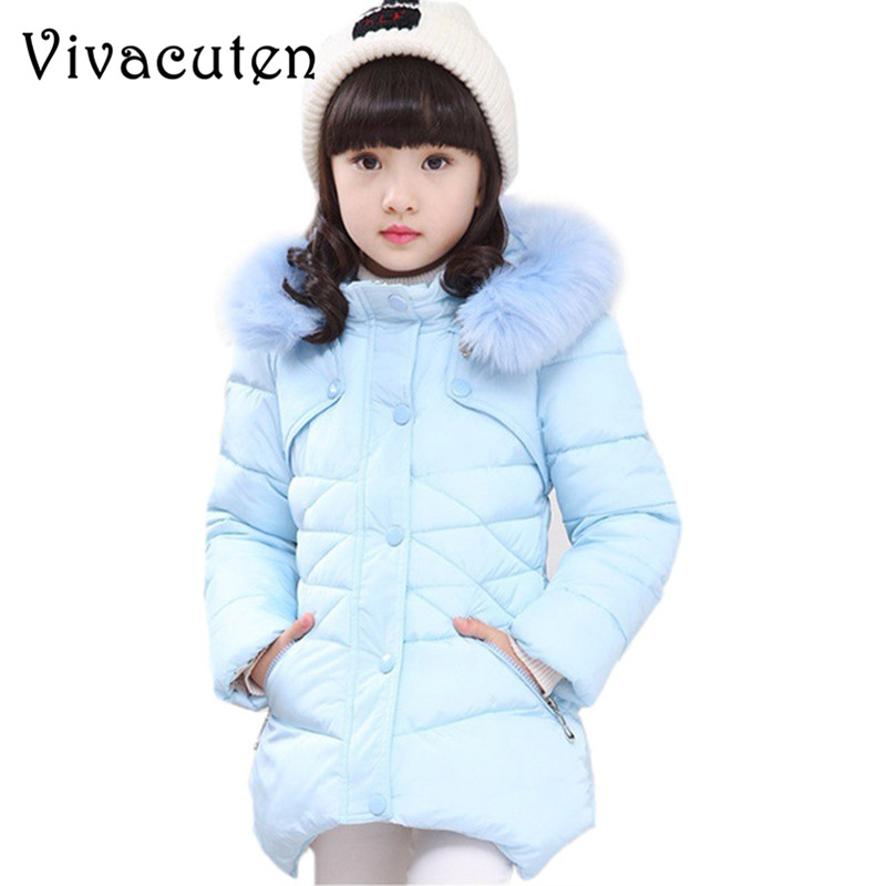 2018 Winter Girls Warm Jacket Kids Down Cotton Outerwear Girls Wadded Coat Child Medium-long Thickening Cotton-padded Outwear pinky is black new warm long winter women jacket hooded cotton padded parkas wadded down cotton basic coat casacos feminino