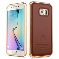 For Samsung S6 Edge Cases Luxury Genuine Leather Back Cover Metal Aluminum Frame Phone Housing Case