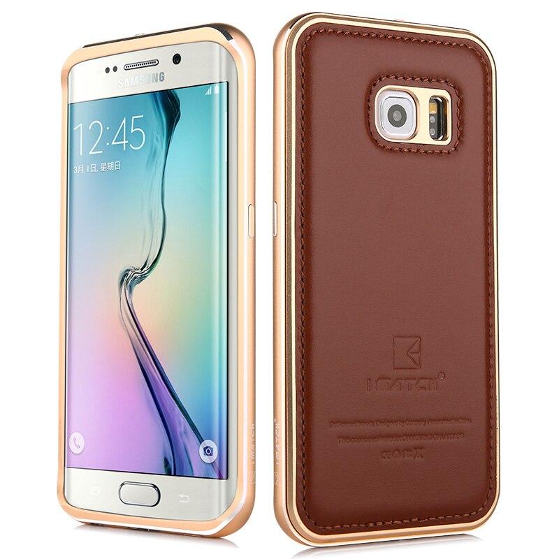 imágenes para Para Samsung Galaxy S6/S6 Edge/S6 Edge Plus Aluminio Parachoques del Metal de Cuero Genuino de Protección Duro Cubierta Posterior Del Teléfono vivienda