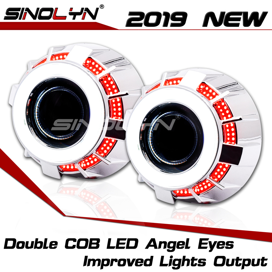 2.5 ''Dupla COB Olhos de Anjo LEVOU DRL 8.0 WST H1 Lentes Do Projetor Bi-xenon Para Automóveis H4 H7 acessórios Do Carro farol Retrofit