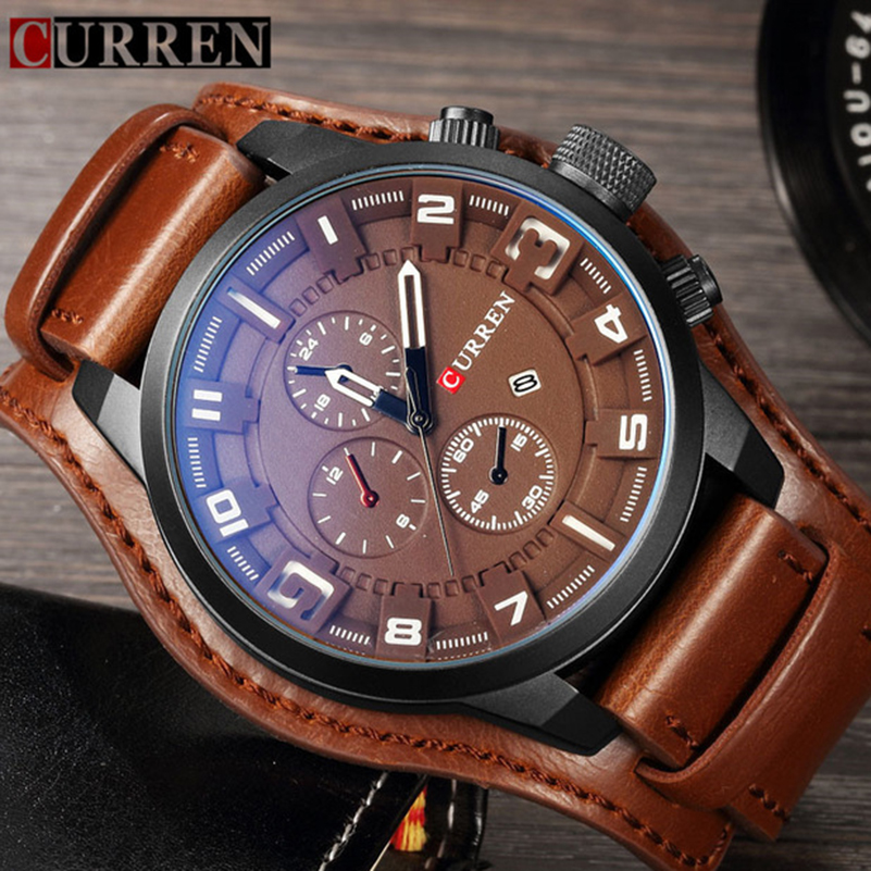 Curren Top Brand Luxury Leather Men Watch Army Military Quartz Mens Watches Casual Sport Clock Watch Relogio Masculino Dropship