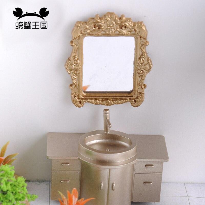 1:25 Dollhouse Mini Furniture Miniature Doll Champagne Accessories Interior View Cabinet Washbasin Model