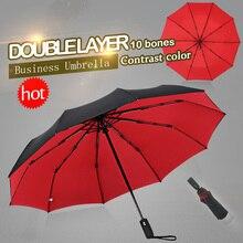 Parapluie tempête pliant automatique à double épaisseur pour femme ou homme, accessoire de luxe de grande entreprise, dix baleines, parfait cadeau, utilisation parasol