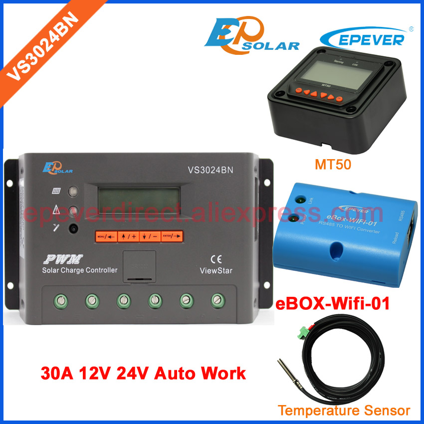 eBOX-Wifi-01 Connect APP use solar EPEVER Charging controller VS3024BN 30A 30amp temperature sensor and MT50 remote meter PWM ep new series pwm regulator solar panel system controller with usb cable and mt50 remote meter vs3024bn 30a 30amp