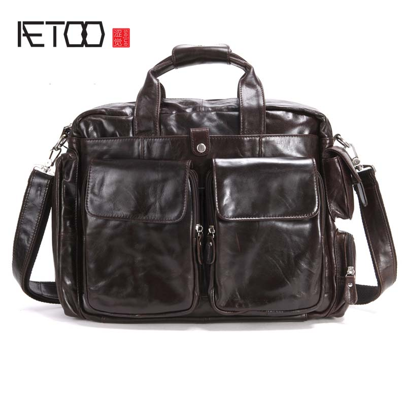 цена AETOO The New vintage bag men's genuine leather bag retro crazy horse brown messenger bag leisure travel bag men