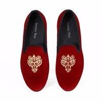 British Style Men Red Velvet Casual Shoes Slip On Handmade Loafers Smoking Slippers Men S Flats