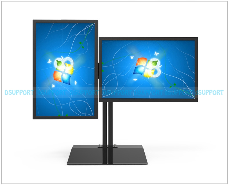 Full Rotation 15-27 Dual Screen Monitor Holder LCD TV Mount Desktop Stand Base