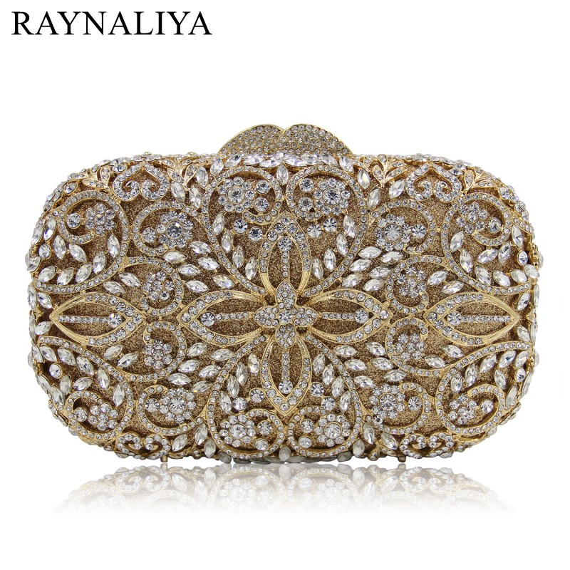 Champagne Color Hollow Out Women Crystal Metal Clutches Minaudiere Diamond Evening Bags Ladies Bridal Wedding Bag SMYZH-E0365 ladies wedding dress bridal crystal clutch bag women diamond dinner banquet evening purse silver metal clutches smyzh f0300