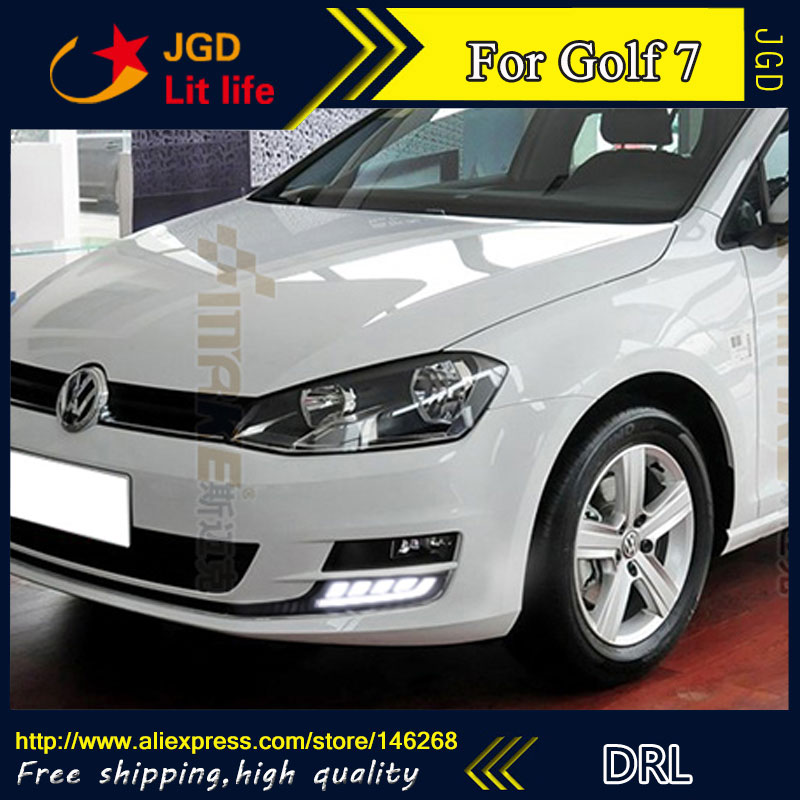 Free shipping ! 12V 6000k LED DRL Daytime running light for VW Golf 7 2013-2015 fog lamp frame Fog light Car styling