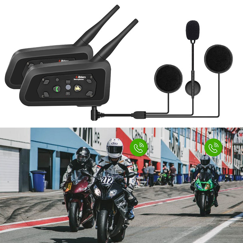 R6 1200M 6 Riders Motorcycle BT Helmet Intercom Moto Interphone Headsets Intercomunicador Bluetooth Talker Para Motocicleta