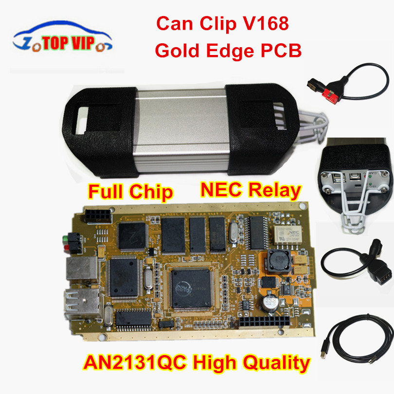 A++ Gold Edge PCB A+ Quality Can Clip AN2131QC V168 Version Full Chip Diagnostic Interface Multi-Function Scanner For Re-nau-lt 2018 newest v178 for renault can clip full chip gold cypress an2135sc 2136sc chip nec relay obd2 interface diagnostic scanner