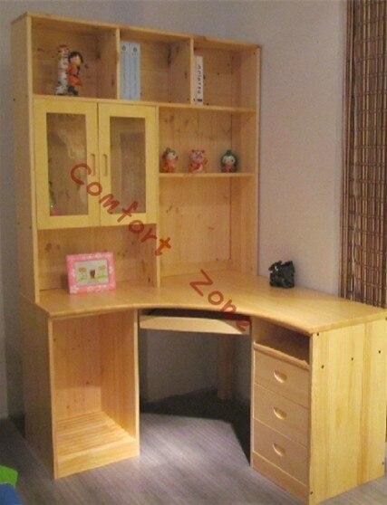 grenen houten meubels, massief houten bureau kast hoek computer ...