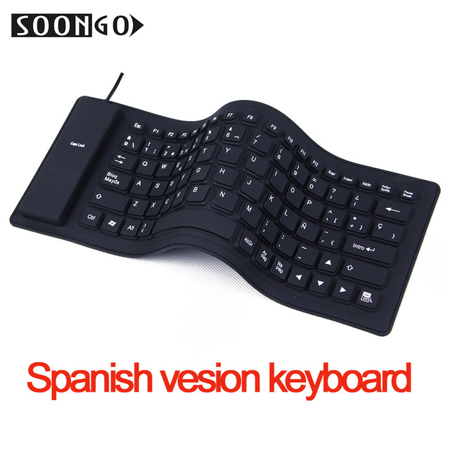 6ae7f969b36 Spanish Teclado Foldable Silicone Keyboard Flexible Waterproof Slim Soft  Black Rubber Keyboard for PC Desktop Laptop