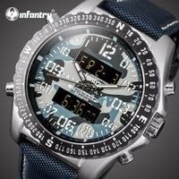 INFANTRY Men Watches Blue Camo Men S Quartz Hour Analog Digital LED Sports Watch Men Army