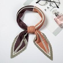 2019 Designer Women Crinkle Scarf Square Silk Pleated Neck Scarves Female Elegant Hair Band Lady Foulard Neckerchief