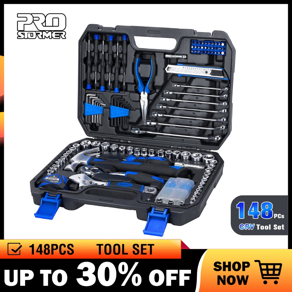 Prostormer 148 Pcs Household Ratchet Wrench Set Hand Tool Set Car Repair Tool Socket Wrench Tool
