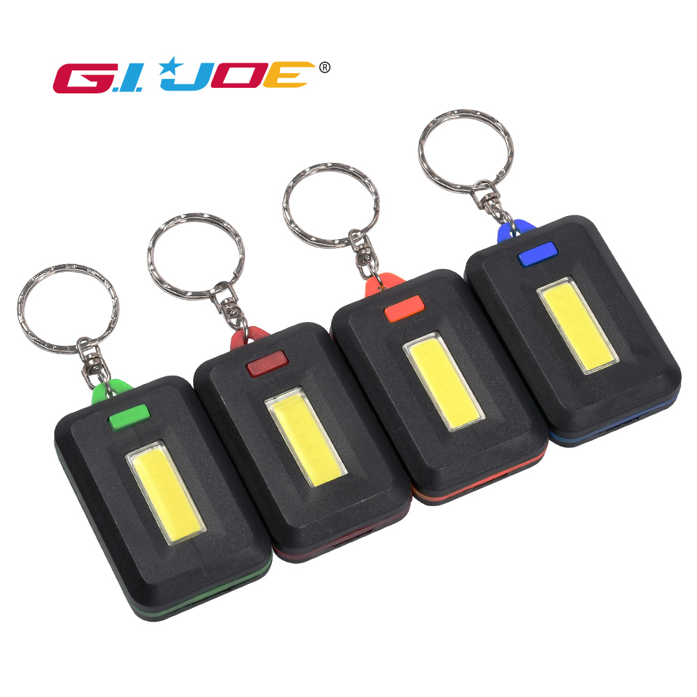 GIJOE Cob Keychain Flashlight 4 Modes Mini Led Flashlight Use 3*AAA Battery Plastic Material Waterproof Emergency Light