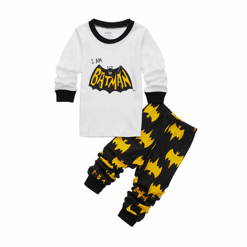 เสื้อผ้าเด็กชุดเด็กชุดนอนเสื้อผ้าเด็ก Batman ชุดนอนชุดเด็กทารกผ้าฝ้ายการ์ตูน Pijamas ฤดูใบไม้ผลิฤดูใบไม้ร่วงชุดนอน