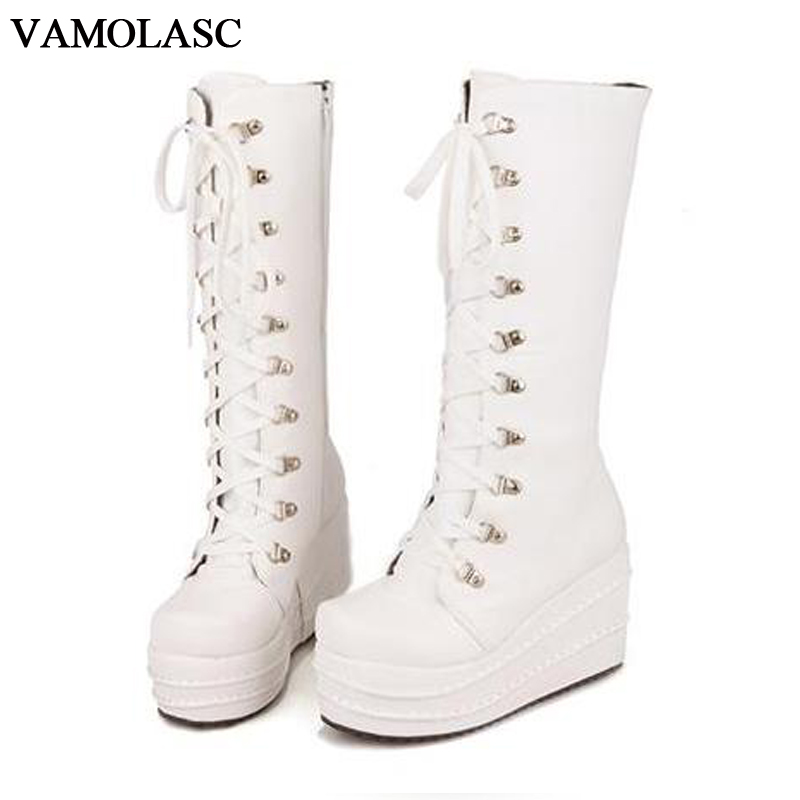 VAMOLASC New font b Women b font Autumn Winter Warm Leather Mid Calf Boots Lace Up