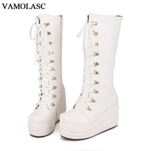 VAMOLASC New Women Autumn Winter Warm Leather Mid Calf Boots Lace Up Wedge High Heel Boots Platform Women Shoes Plus Size 34-43