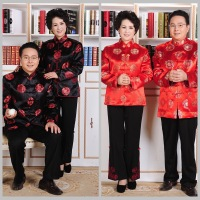 Long Sleeve Middle Aged Men Chinese Tang Tops Ancient Men Grandparents Birthday Tops Red Wedding Clothing New Year Jacket 90