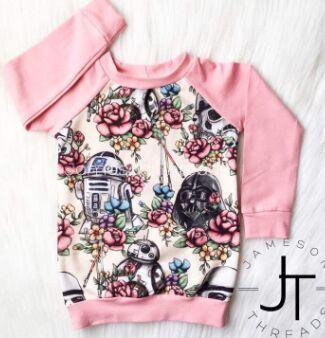 2018 Nieuwe Leuke Star Wars Peuter Baby Meisjes Kleding Lange Mouw Tops T-shirt Casual Katoenen Kleding Uk