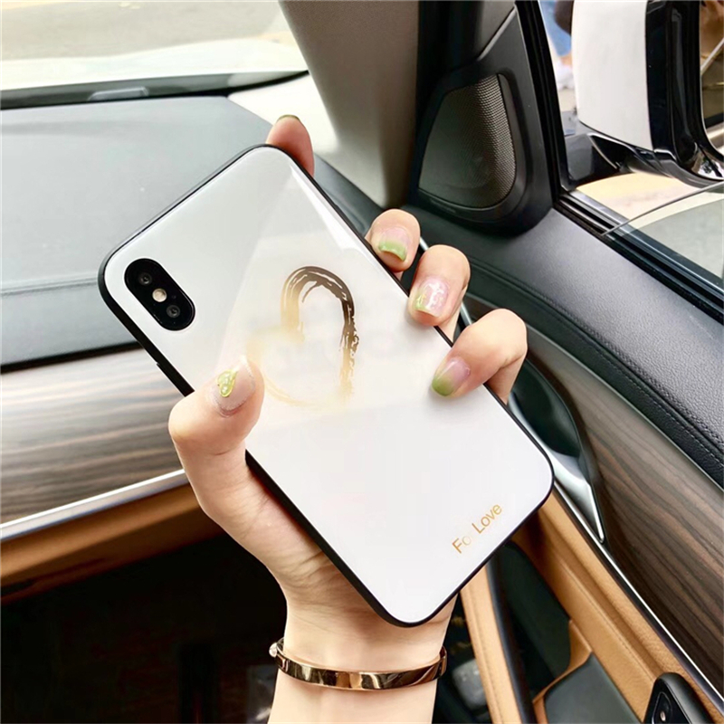 BONVAN Tempered Glass Case For iPhone X Lovely Heart Hard Back Cover Soft Silicone Bumper For iPhone 7 6S 8 Plus 6 Plus Cases07
